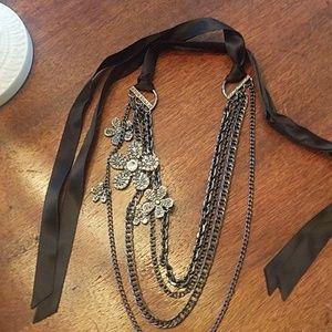High-end look! Cookie Lee necklace or belt.